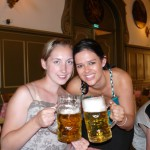 Beer hall with my roomie in Munich, Germany