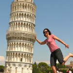 The must do tourist shot at the Leaning Tower of Pisa, Italy