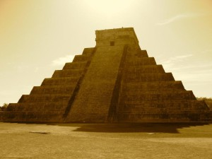 One of the 7 wonders of the world: Chichen Itza Mayan Pyramid.